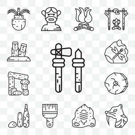 Set Of 13 transparent editable icons such as Axe, Saber toothed tiger, Rock art, Brush, Weapon, Wheel, Dolmen, Fossil, Moai, web ui icon pack