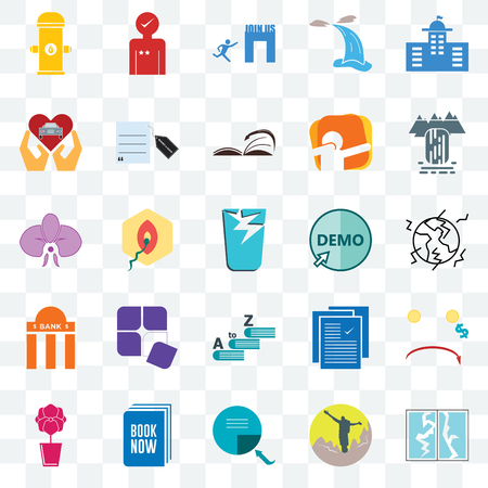 Set Of 25 transparent icons such as broken glass, hiker, page turn, book now, orchid, waterfall, demo, vocabulary, bank branch, car dealer, join us, customer experience, web UI transparency icon pack