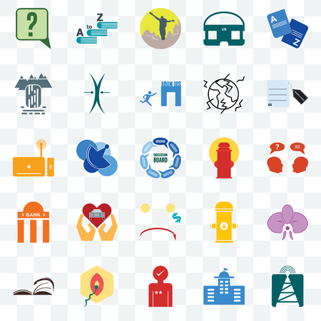 Set Of 25 transparent icons such as cell tower, inquiry, request a quote, vocabulary, page turn, elastic, fire hydrant, set top box, web UI transparency icon pack, pixel perfect Ilustracja