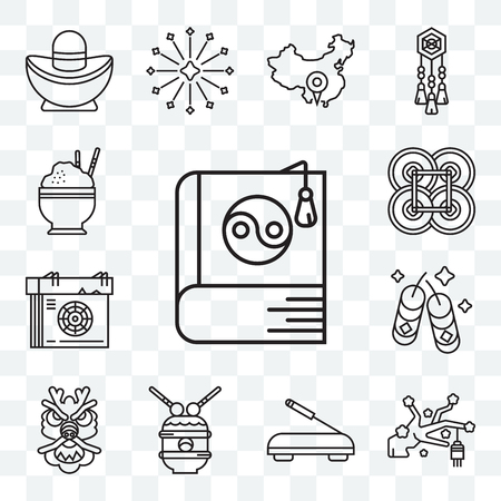 Set Of 13 transparent editable icons such as Yin yang, Sakura, Incense, Drum, Dragon, Fireworks, Calendar, Yuan, Rice, web ui icon pack