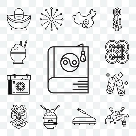 Set Of 13 transparent editable icons such as Yin yang, Sakura, Incense, Drum, Dragon, Fireworks, Calendar, Yuan, Rice, web ui icon pack