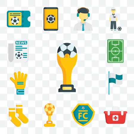 Set Of 13 transparent editable icons such as  Shopping basket, Football club, Cup, Socks, Flag, Gloves, Soccer field, Newspaper, web ui icon pack