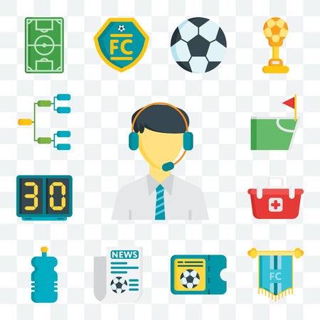 Set Of 13 transparent editable icons such as Commentator, Pennant, Ticket, Newspaper, Bottle, Shopping basket, Scoreboard, Flag, Football, web ui icon pack