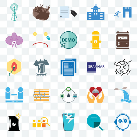 Set Of 25 transparent icons such as live support, earthquake, electric meter, moose, bag of chips, cost uction, car dealer, penetration, web UI transparency icon pack, pixel perfect