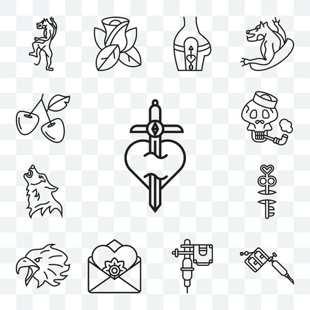Set Of 13 transparent editable icons such as Dagger, Tattoo Machine, machine, Letter, Eagle, Key, Wolf, Sailor Skull, Cherries, web ui icon pack