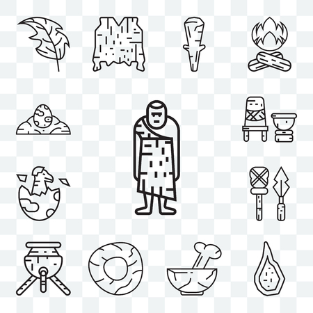 Set Of 13 transparent editable icons such as Troglodyte, Weapon, Plate, Wheel, Pot, Dinosaur, Mortar, Dinosaur egg, web ui icon pack Illustration