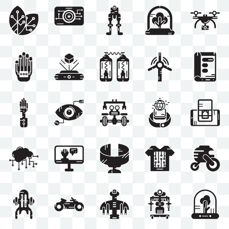 Set Of 25 transparent icons such as Tree, Robot, Drone, Motorbike, Jet pack, Display, Smartwatch, Panoramic view, Cloud computing, Wi gloves, Eye scan, web UI transparency icon pack