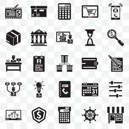 Set Of 25 transparent icons such as Online store, Sailing boat, Calculating, Dollar, Line chart, Accessory, Phone number, Boss, Packing, web UI transparency icon pack Illustration