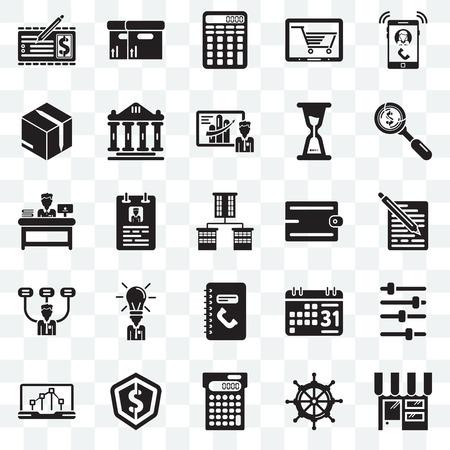 Zestaw 25 przezroczystych ikon, takich jak sklep internetowy, żaglówka, obliczanie, dolar, wykres liniowy, akcesoria, numer telefonu, szef, opakowanie, pakiet ikon przejrzystości interfejsu internetowego