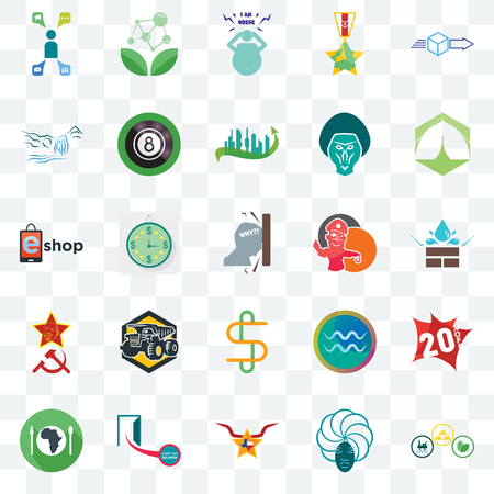 Set Of 25 transparent icons such as commodities, water resistant, marquee, antioxidant, hunger, 8 ball pool, aquarius, eshop, web UI transparency icon pack, pixel perfect Illustration