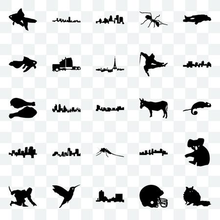 Set Of 25 transparent icons such as raccoon, football helmet, montana, hummingbird, ninja, jamaica, donkey, mosquito, arkansas, goldfish, kentucky state, maryland, web UI transparency icon pack  イラスト・ベクター素材