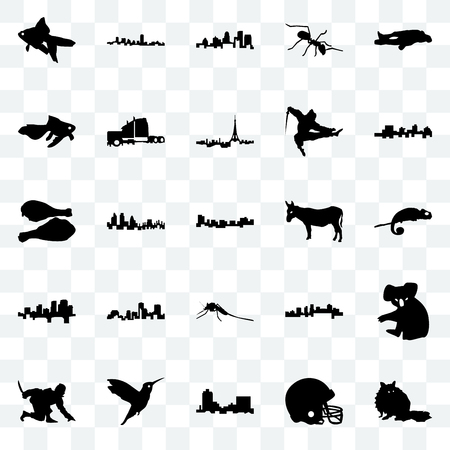 Set Of 25 transparent icons such as raccoon, football helmet, montana, hummingbird, ninja, jamaica, donkey, mosquito, arkansas, goldfish, kentucky state, maryland, web UI transparency icon pack 向量圖像