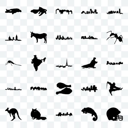 Set Of 25 transparent icons such as football helmet, chameleon, jamaica, raccoon, kangaroo, ant, hippo, turkey leg, maryland, alabama, utah, goldfish, web UI transparency icon pack