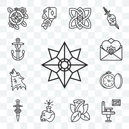 Set Of 13 transparent editable icons such as Star, Certificate, Rose, Skull, Dagger, Watch, Wolf, Letter, Anchor, web ui icon pack