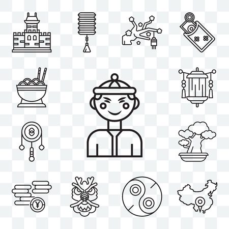 Set Of 13 transparent editable icons such as Chinese, China, Yin yang, Dragon, Yuan, Bonsai, Drumstick, Lantern, Noodles, web ui icon pack