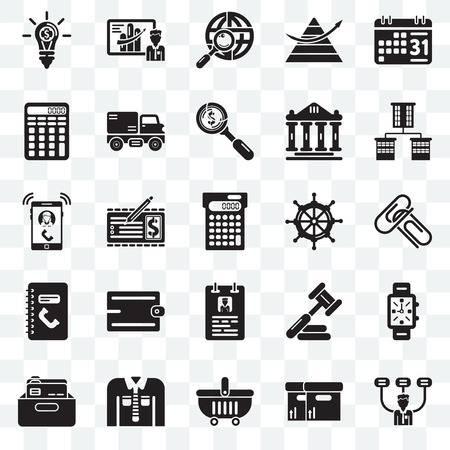 Set Of 25 transparent icons such as Boss, Attachments, Offices, Business presentation, Office material, Trucking, Judging, Ringing, web UI transparency icon pack, pixel perfect Illustration
