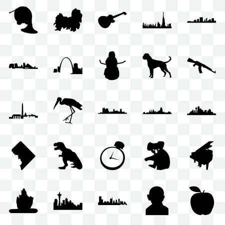 Set Of 25 transparent icons such as apple, gandhi, austin, seattle, lord shiva, ak47, cincinnati, pocket watch, dc, wisconsin, image les paul, shih tzu, web UI transparency icon pack Illustration