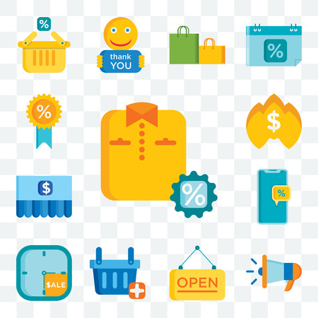 Set Of 13 transparent editable icons such as Shirt, Megaphone, Open, Shopping basket, Sale time, Discount, Flame, Medal, web ui icon pack Illustration