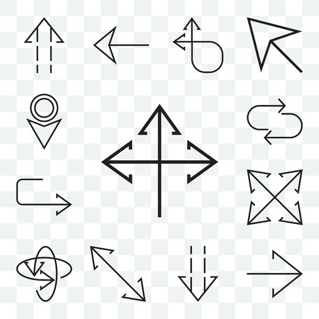 Set Of 13 transparent editable icons such as Three arrows, Right arrow, Down Diagonal, Atom, Expand, U turn, Transfer, web ui icon pack