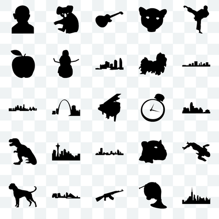 Set Of 25 transparent icons such as nyc, french horn, ak47, wisconsin, boxer dog, south carolina, pocket watch, t rex, apple, image les paul, koala, web UI transparency icon pack