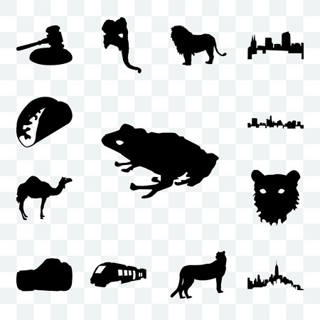 Set Of 13 transparent icons such as frog outline on white background, of manhattan cheetah web ui editable icon pack, transparency set