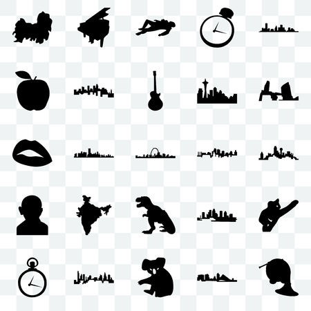Set Of 25 transparent icons such as french horn, wisconsin, koala, charlotte, pocket watch, long island, kansas city, t rex, gandhi, apple, crime scene body, grand piano, web UI transparency icon pack