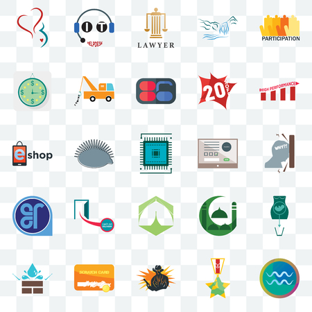 Set Of 25 transparent icons such as aquarius, veteran, outlaw, scratch card, water resistant, high performance, online form, marquee, er, estimate, lawyer, it helpdesk, web UI transparency icon pack Ilustração