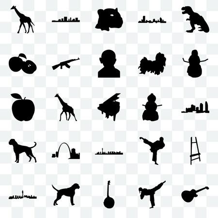 Set Of 25 transparent icons such as image les paul, karate kick, banjo, boxer dog, las vegas, snowman, apple, jaguar face, south carolina, web UI transparency icon pack 矢量图像