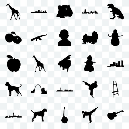 Set Of 25 transparent icons such as image les paul, karate kick, banjo, boxer dog, las vegas, snowman, apple, jaguar face, south carolina, web UI transparency icon pack Illustration