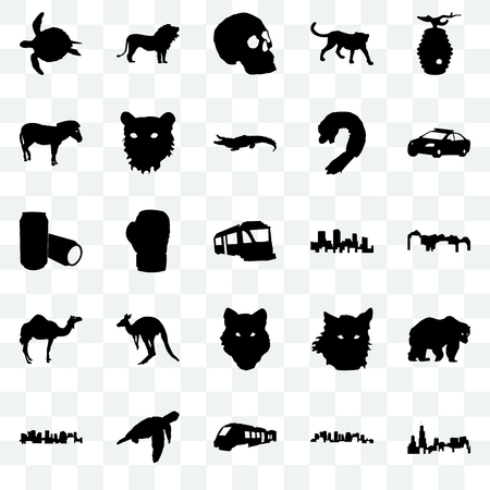 Set Of 25 transparent icons such as illinois state, norway, train, sea turtle, police car, colorado, wolf face, camel, zebra, simple skull, lion, web UI transparency icon pack Stock Illustratie