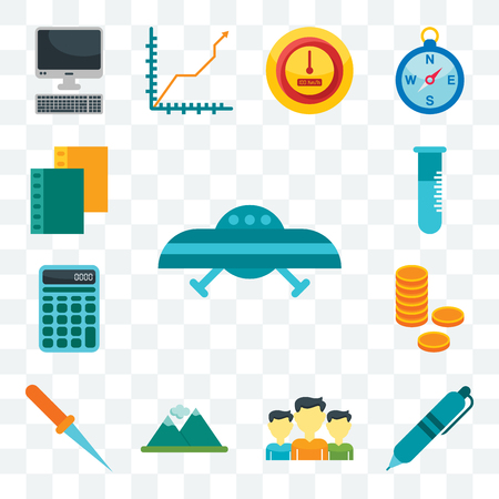 Set Of 13 transparent editable icons such as Ufo, Pen, Team, Mountain, Paper knife, Coins, Calculator, Flask, Folder, web ui icon pack 矢量图像