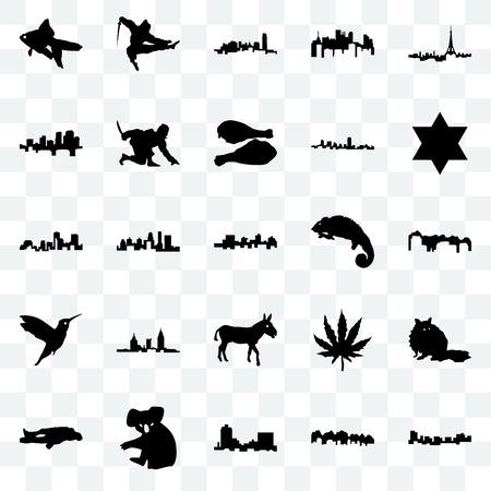 Set Of 25 transparent icons such as jamaica, utah, montana, koala, chalk, star of david, chameleon, donkey, hummingbird, arkansas, oklahoma, ninja, web UI transparency icon pack