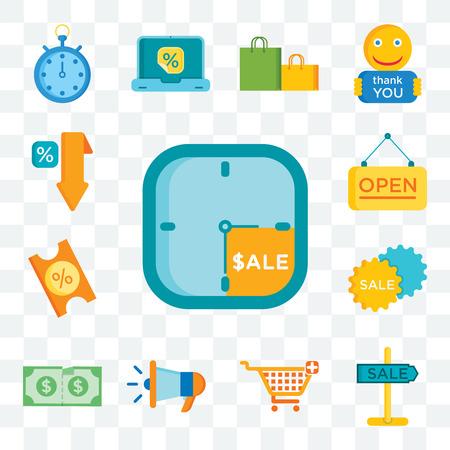 Set Of 13 transparent editable icons such as Sale time, Sale, Shopping cart, Megaphone, Discount, Coupon, Open, web ui icon pack Foto de archivo - 111896095