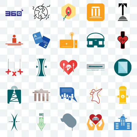 Set Of 25 transparent icons such as municipal, specification, tracker, earthquake, elastic, vocabulary, dab, xxx, web UI transparency icon pack, pixel perfect