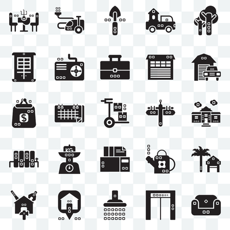 Set Of 25 transparent icons such as Sit down, House things, Transportation, Reparation, Cooling, Gardening, Purses, web UI transparency icon pack, pixel perfect Vettoriali
