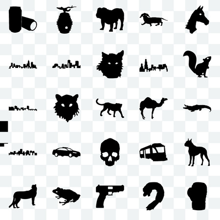 Set Of 25 transparent icons such as boxing glove, shrimp, handgun, frog, cheetah, , camel, simple skull, virginia state, north carolina bulldog, beehive, web UI transparency icon pack Illustration