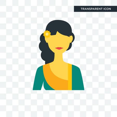Indonesian women icon isolated on transparent background. Illustration