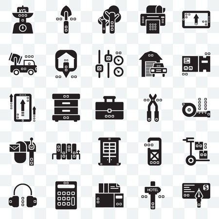 Set Of 25 transparent icons such as Banker, Maps and Flags, Archives, Calculations, Headphones, Packaging, Pruners, Facade, Mailed, Trucks, Trees, Garden work, web UI transparency icon pack