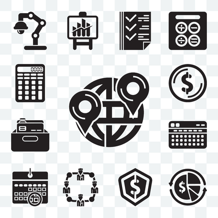 Set Of 13 transparent editable icons such as Maps and Flags, Finances, Dollar, Network, Wall calendar, Stats, Office material, Calculating, web ui icon pack Illusztráció