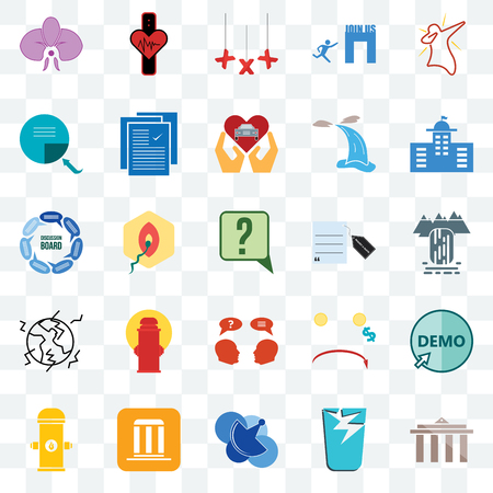 Set Of 25 transparent icons such as municipality, waterfall, municipal, tracker, fire hydrant, specification, cost uction, discussion board, web UI transparency icon pack, pixel perfect