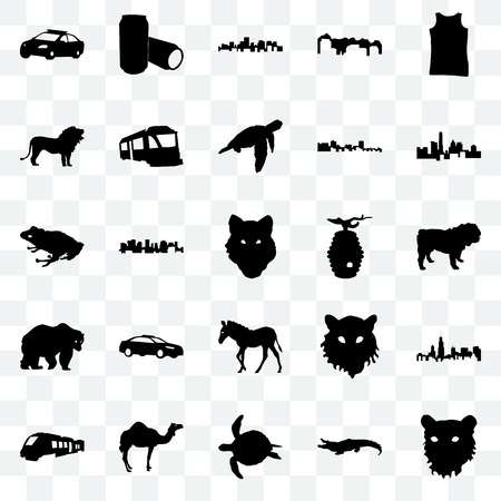 Set Of 25 transparent icons such as tiger face, alligator, sea turtle, camel, train, state of texas, beehive, zebra, bear, lion, virginia state, beer can, web UI transparency icon pack