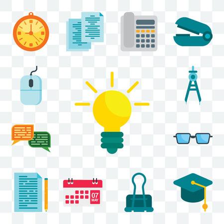 Set Of 13 transparent editable icons such as Idea, Mortarboard, Clip, Calendar, Documentation, Glasses, Chat, Compass, Mouse, web ui icon pack Vecteurs