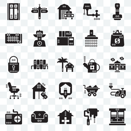 Set Of 25 transparent icons such as Entrance, House things, Purses, Maps and Flags, Cooling, Kilograms, Barrow, Blocked, web UI transparency icon pack, pixel perfect Vettoriali