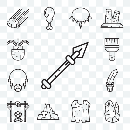 Set Of 13 transparent editable icons such as Spear, Stone, Clothes, Cave, Roast chicken, Knife, Amulet, Brush, Plant, web ui icon pack
