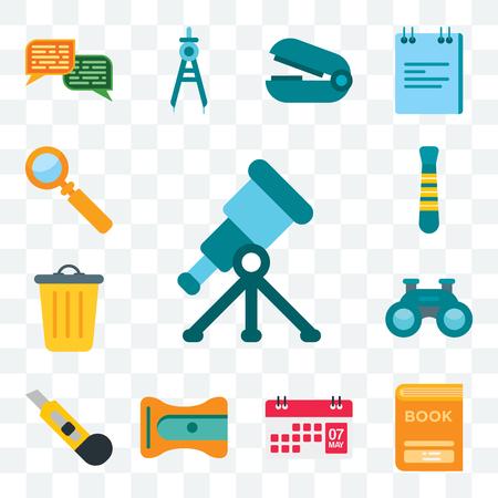 Conjunto de 13 iconos editables transparentes como telescopio, libro, calendario, sacapuntas, cortador, binoculares, cesta, corbata, lupa, paquete de iconos de interfaz de usuario web