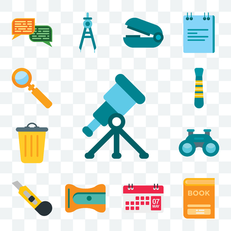 Set Of 13 transparent editable icons such as Telescope, Book, Calendar, Sharpener, Cutter, Binoculars, Basket, Tie, Magnifying glass, web ui icon pack Ilustração