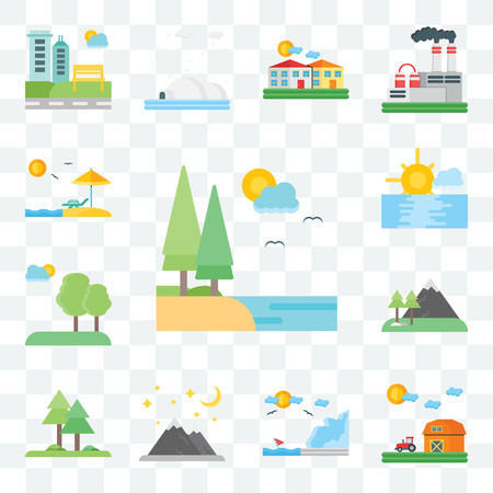 Set Of 13 transparent editable icons such as Lake, Barn, Coast, Mountains, Trees, Tree, Sunset, Beach, web ui icon pack Stock Illustratie