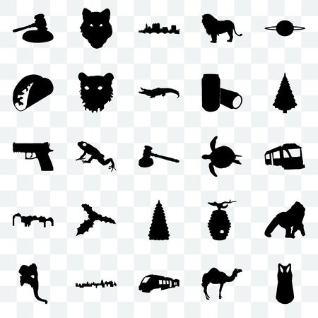 Set Of 25 transparent icons such as tank top, camel, train, cuba, elephant head, christmas tree, sea turtle, utah, taco, state of ohio, wolf face, web UI transparency icon pack