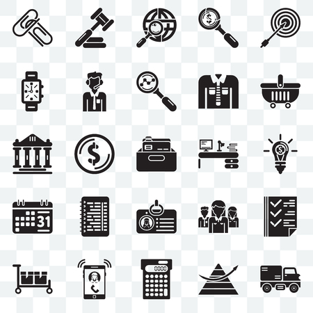 Set Of 25 transparent icons such as Trucking, Stats, Calculating, Ringing, Packing, Online store, Studying, Id card, Weekly calendar, Watches, Maps and Flags, Judging, web UI transparency icon pack