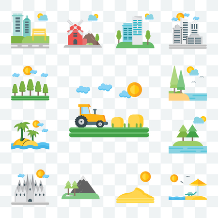 Set Of 13 transparent editable icons such as Field, Beach, Dune, Mountains, Barcelona, Trees, Island, Lake, Forest, web ui icon pack Иллюстрация
